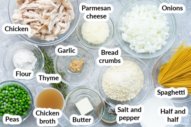 Labeled chicken tetrazzini ingredients in various bowls.