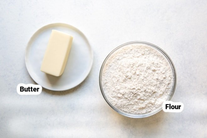Butter and flour in bowls, labeled.