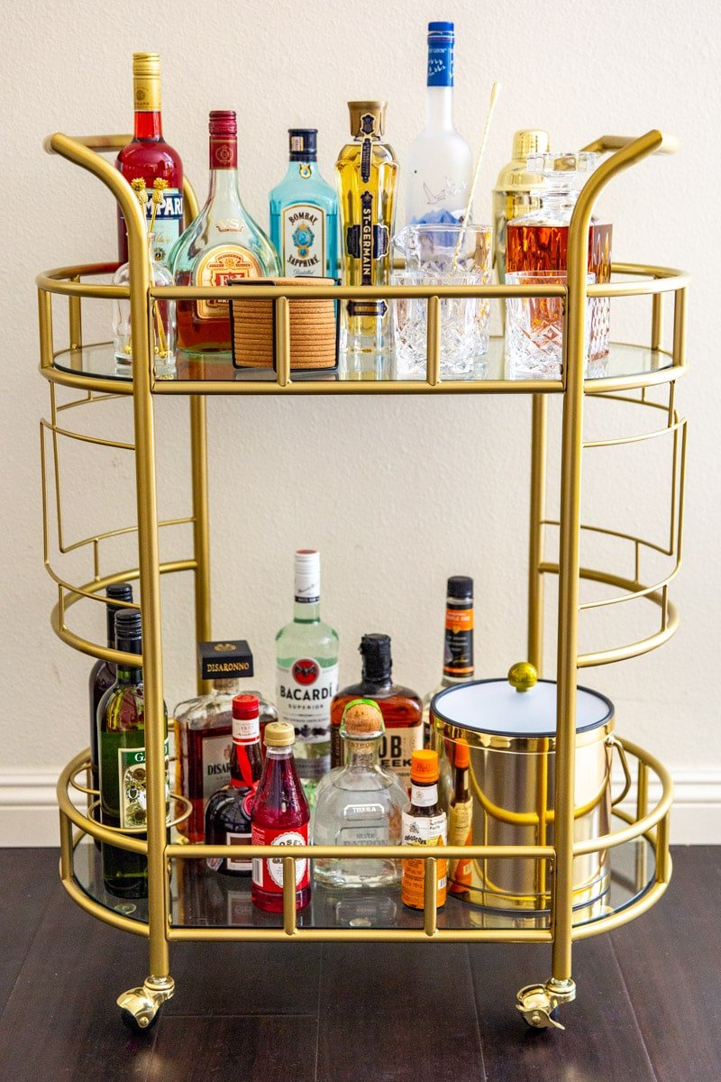 A stocked bar cart.