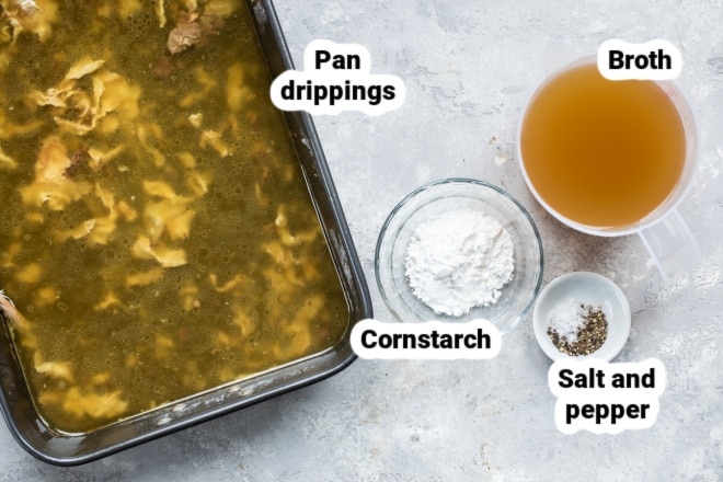 Labeled ingredients for making turkey gravy.