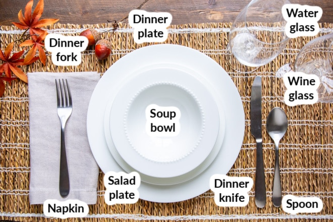 Labeled place setting with a wood and twine placemat behind it.