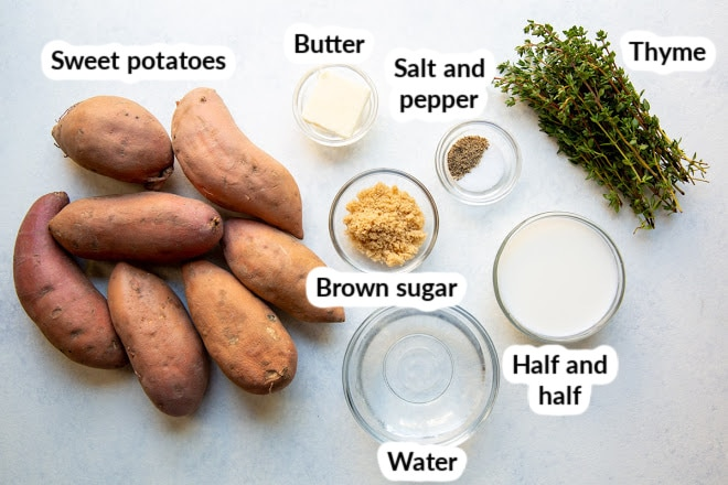 Ingredients for mashed sweet potatoes in bowls and labeled.