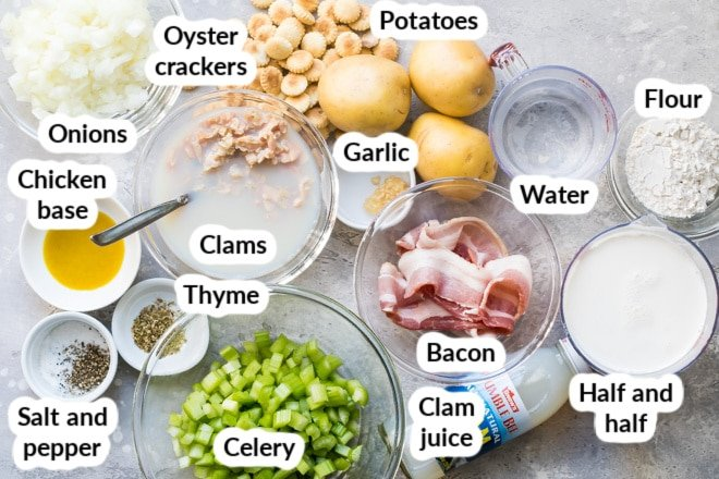 Labeled New England clam chowder ingredients in various bowls.