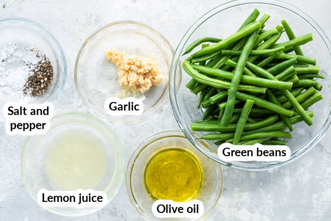 Labeled roasted green bean ingredients in various bowls.