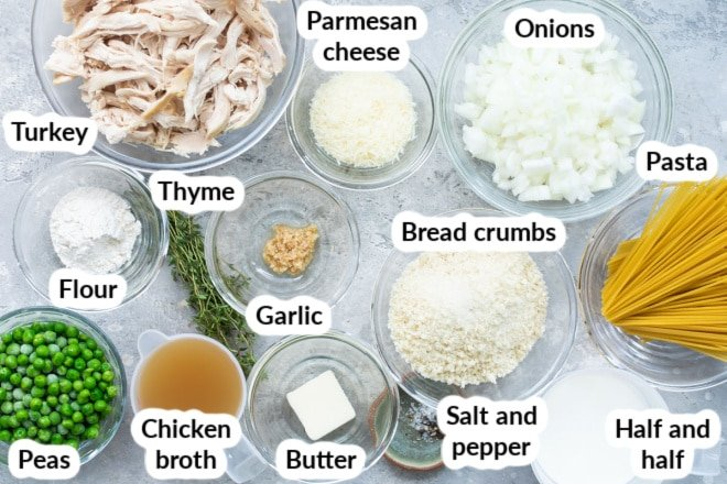 Labeled turkey tetrazzini ingredients in various bowls.