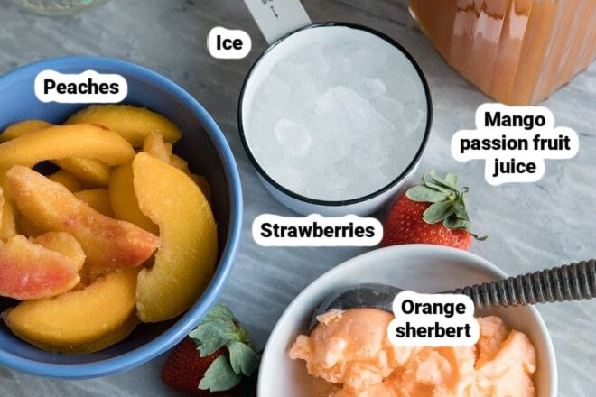 Labeled ingredients for Caribbean Passion smoothies.