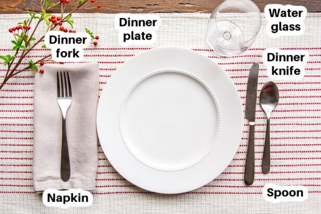 A basic place setting for Christmas with all dishes and silverware labeled.