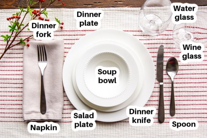 A casual place setting for Christmas with all dishes and silverware labeled.