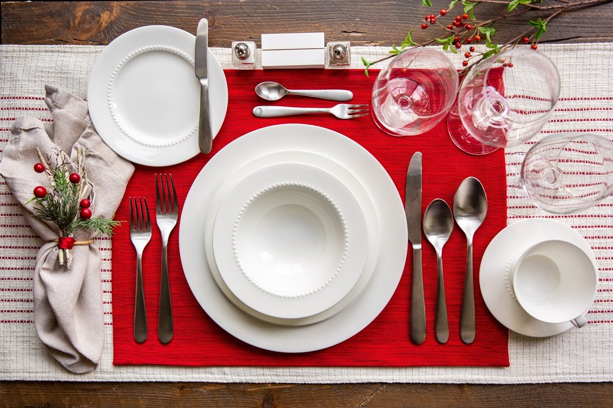 A formal place setting for Christmas.