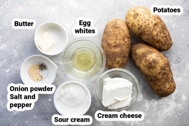 Labeled make ahead mashed potato ingredients in various bowls.