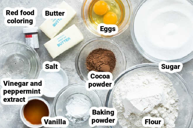Labeled ingredients in various bowls for Peppermint cookies.