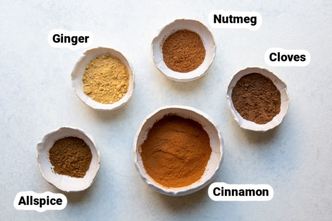 Labled pumpkin pie spice ingredients.