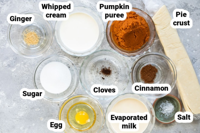 Labeled pumpkin pie ingredients in various bowls.