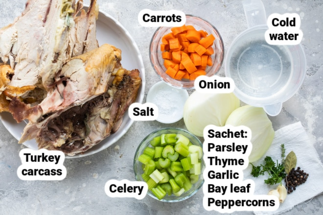Turkey broth ingredients labeled in bowls.