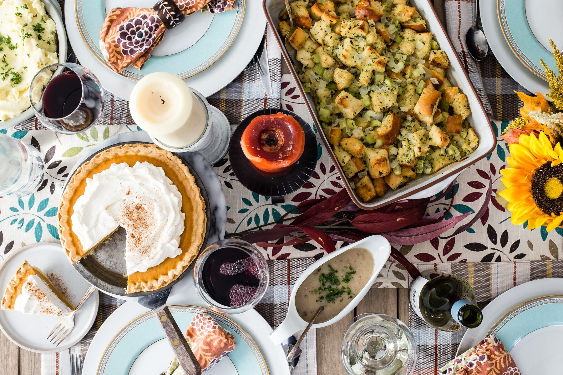 A make ahead Thanksgiving feast on a table.