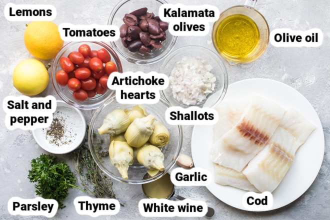 Labeled baked cod ingredients in various bowls.