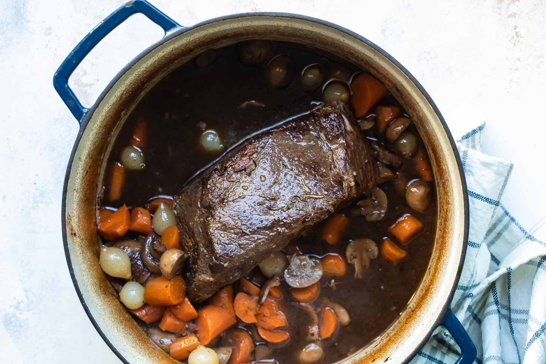 Beef Bourguignon in a pot.