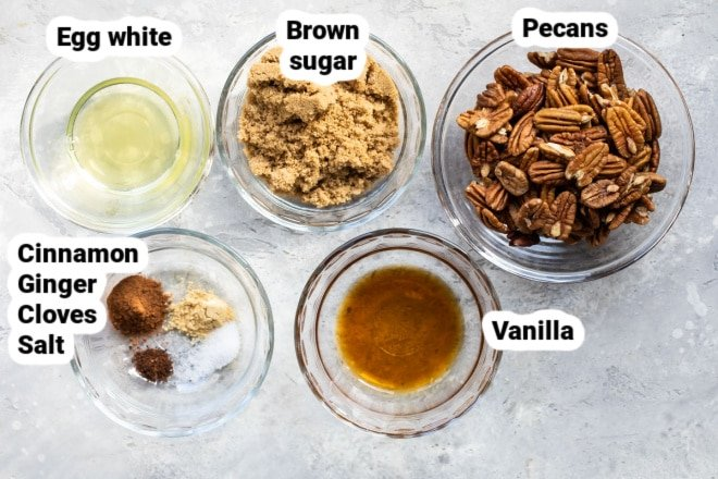 Candied pecan ingredients labeled in bowls.
