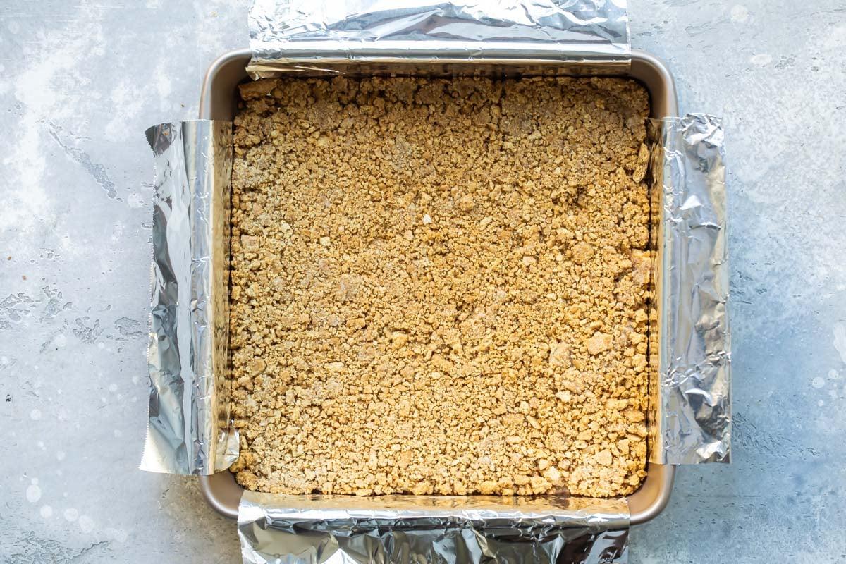 Graham cracker crust after baking.