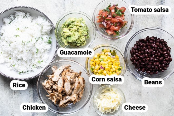 Labeled Chipotle burrito bowl ingredients.