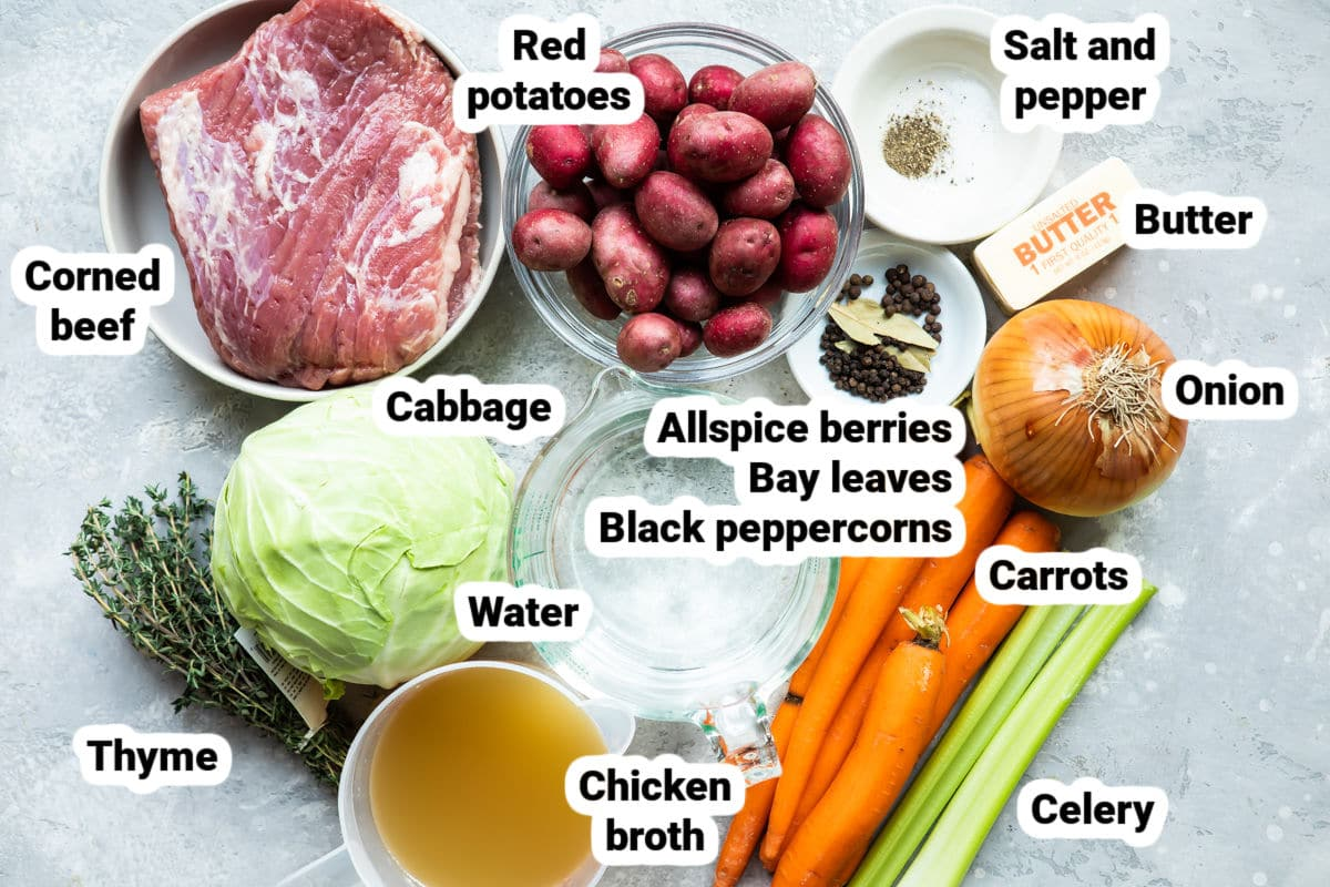 Corned beef and cabbage recipe ingredients.