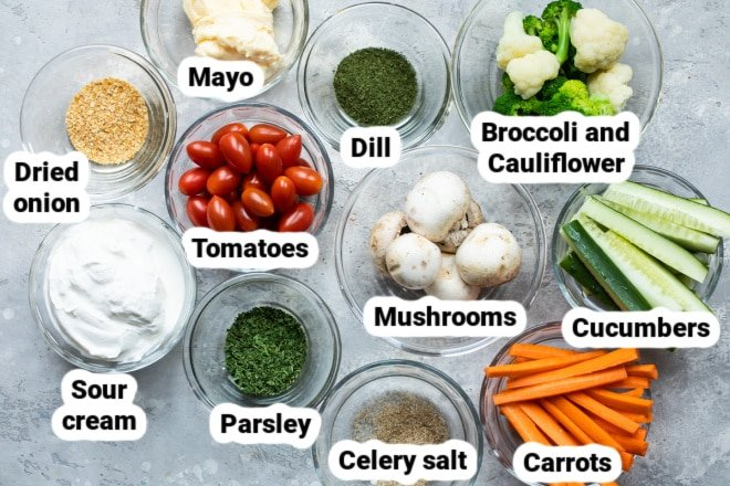 Dill dip and vegetable ingredients.