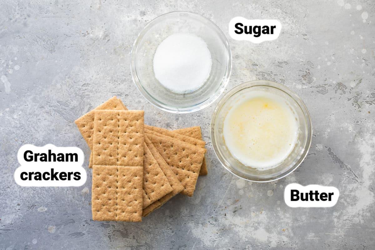 Graham cracker crust ingredients.