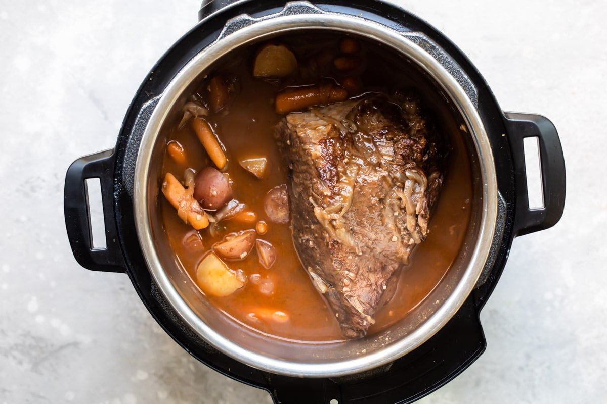 Cooked pot roast in an instant pot.