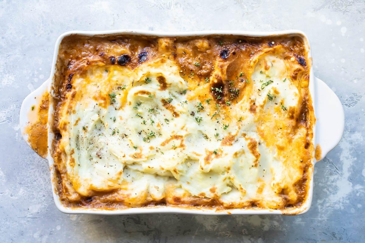 A baking dish full of Shepherd's Pie.