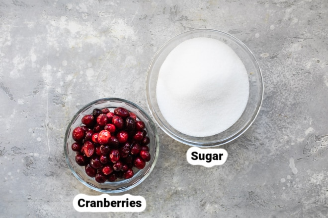 Labeled sugared cranberry ingredients in two bowls.