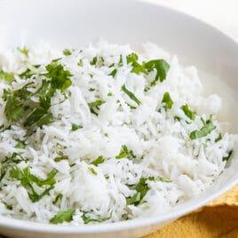 Chipotle cilantro lime rice in a white bowl.