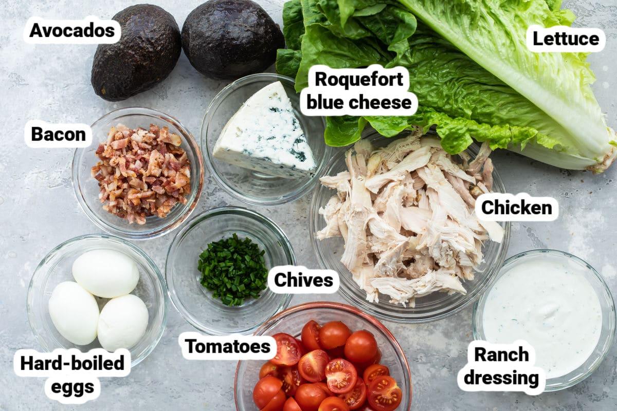 Cobb Salad ingredients labeled.