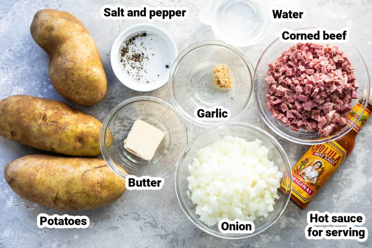 Corned beef hash ingredients.