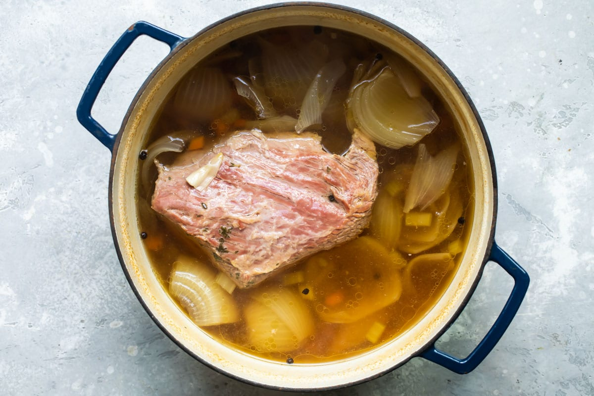 Corned beef in a pot.
