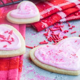 Easy frosted valentine cookies on a cooling rack.
