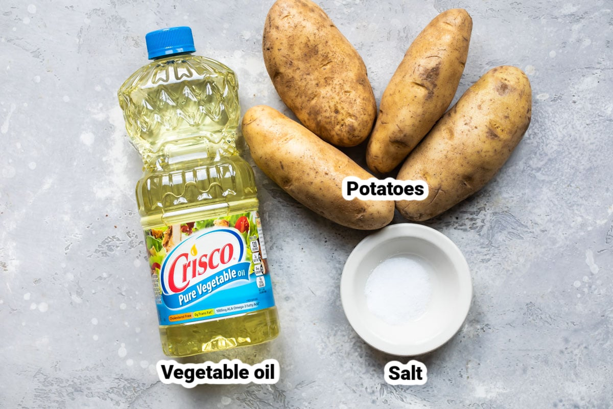 Ingredients for homemade French fries.