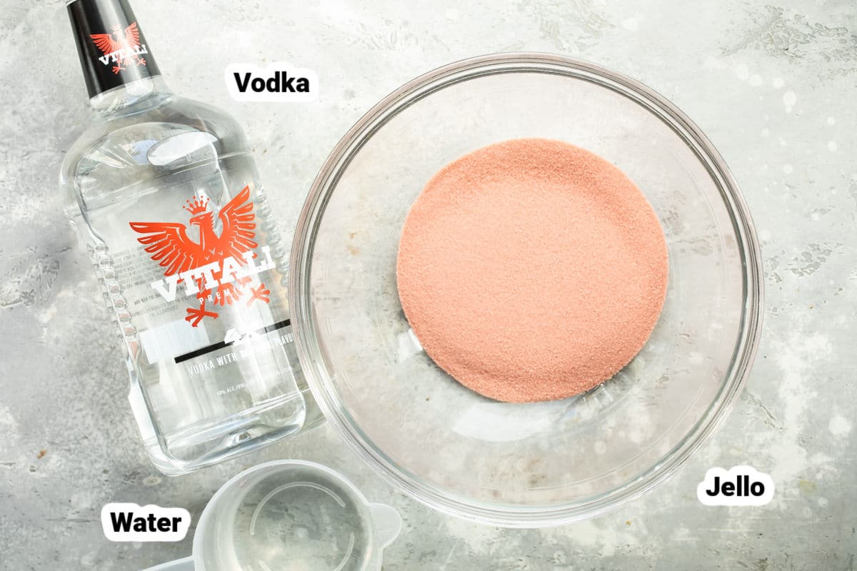 Ingredients for jello shots.