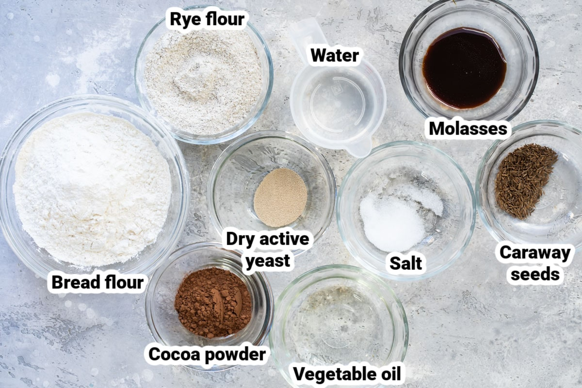 Labeled ingredients for Marble Rye Bread.