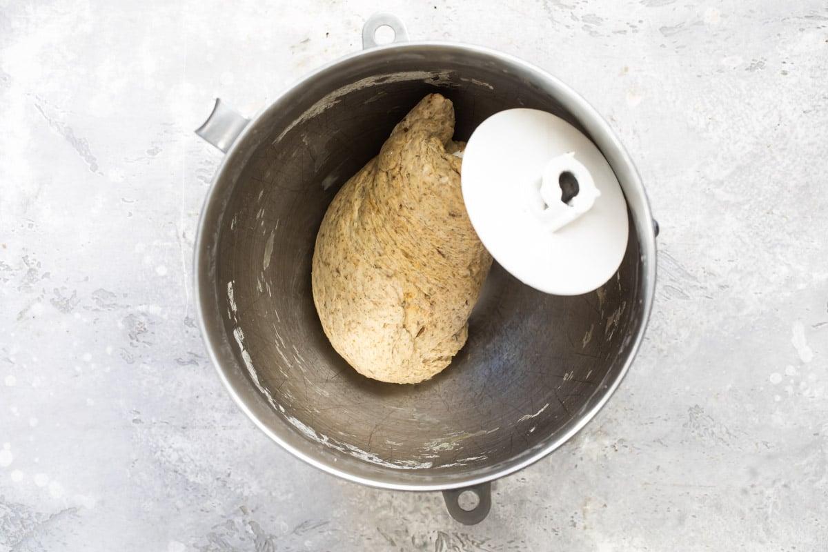 Light bread dough for marble rye bread.