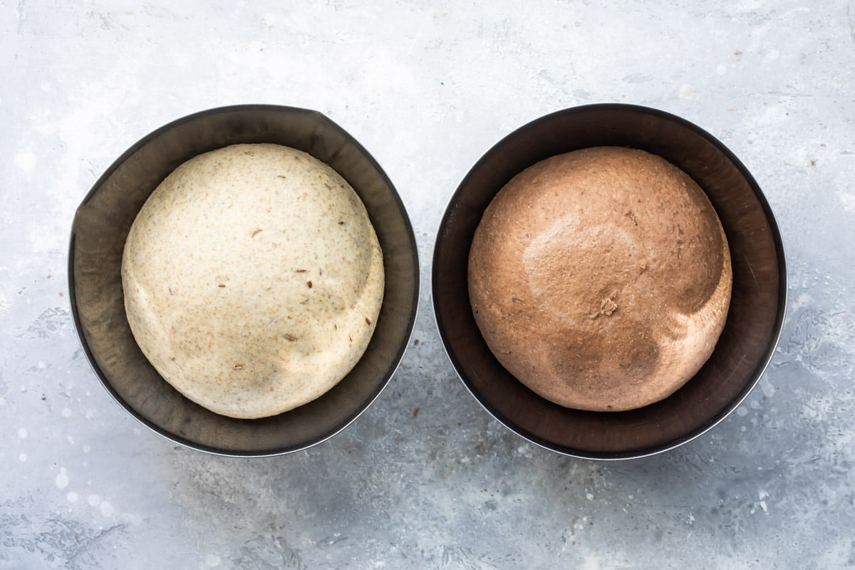 Two rounds of bread dough after first rise.