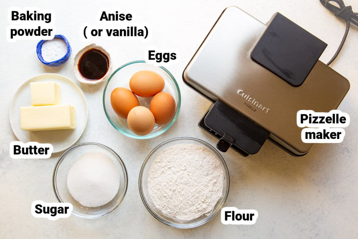 Labeled ingredients for Pizzelle Italian cookies.