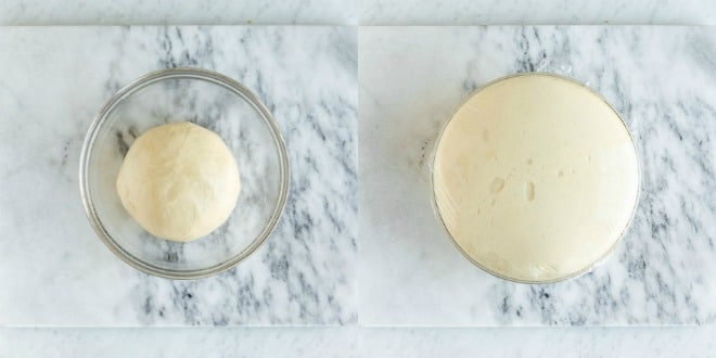 Dough before and after proofing.