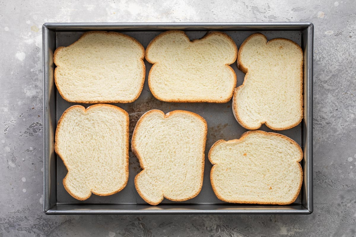 Bread slices in a pan.