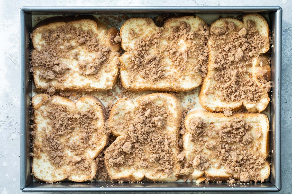 Baked french toast in a pan.