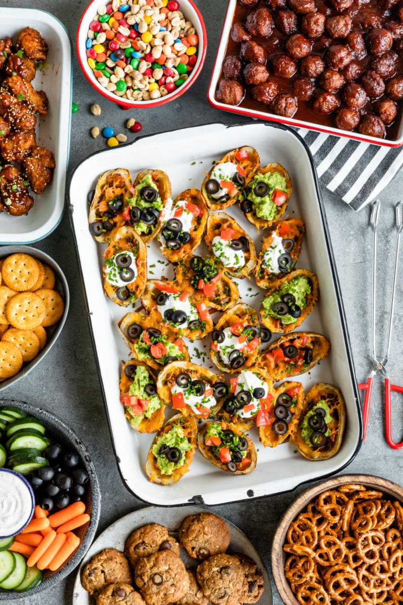 A party spread with baked potato skins as the main event.