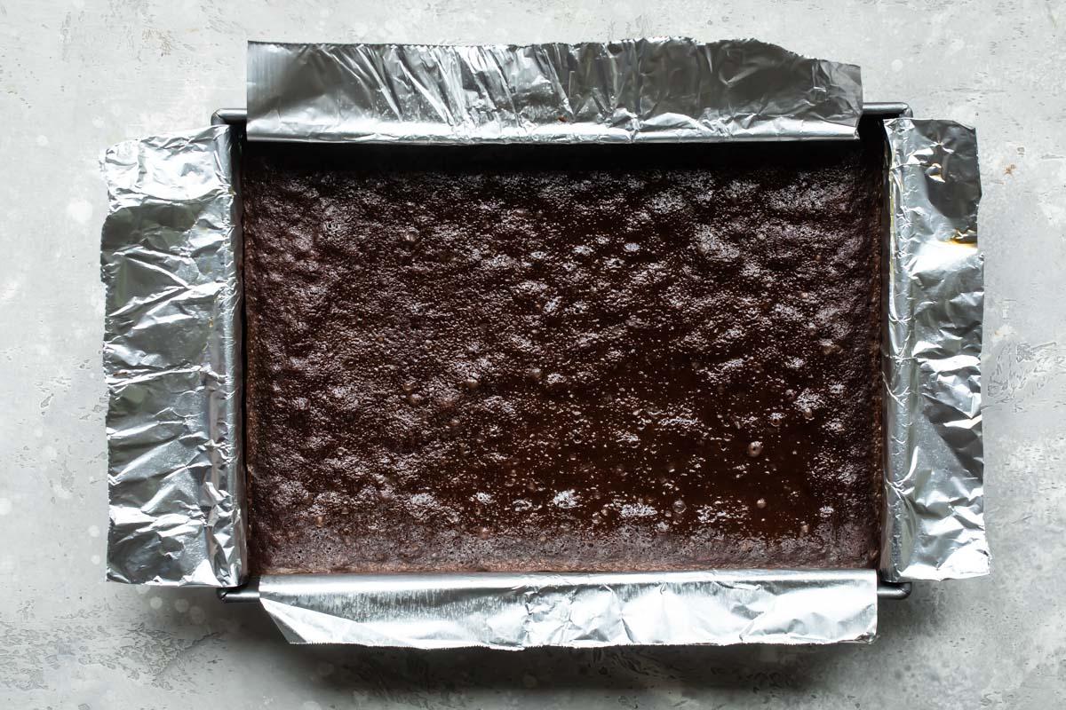 A cake pan with brownies.