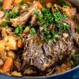 Pot roast in a dutch oven.