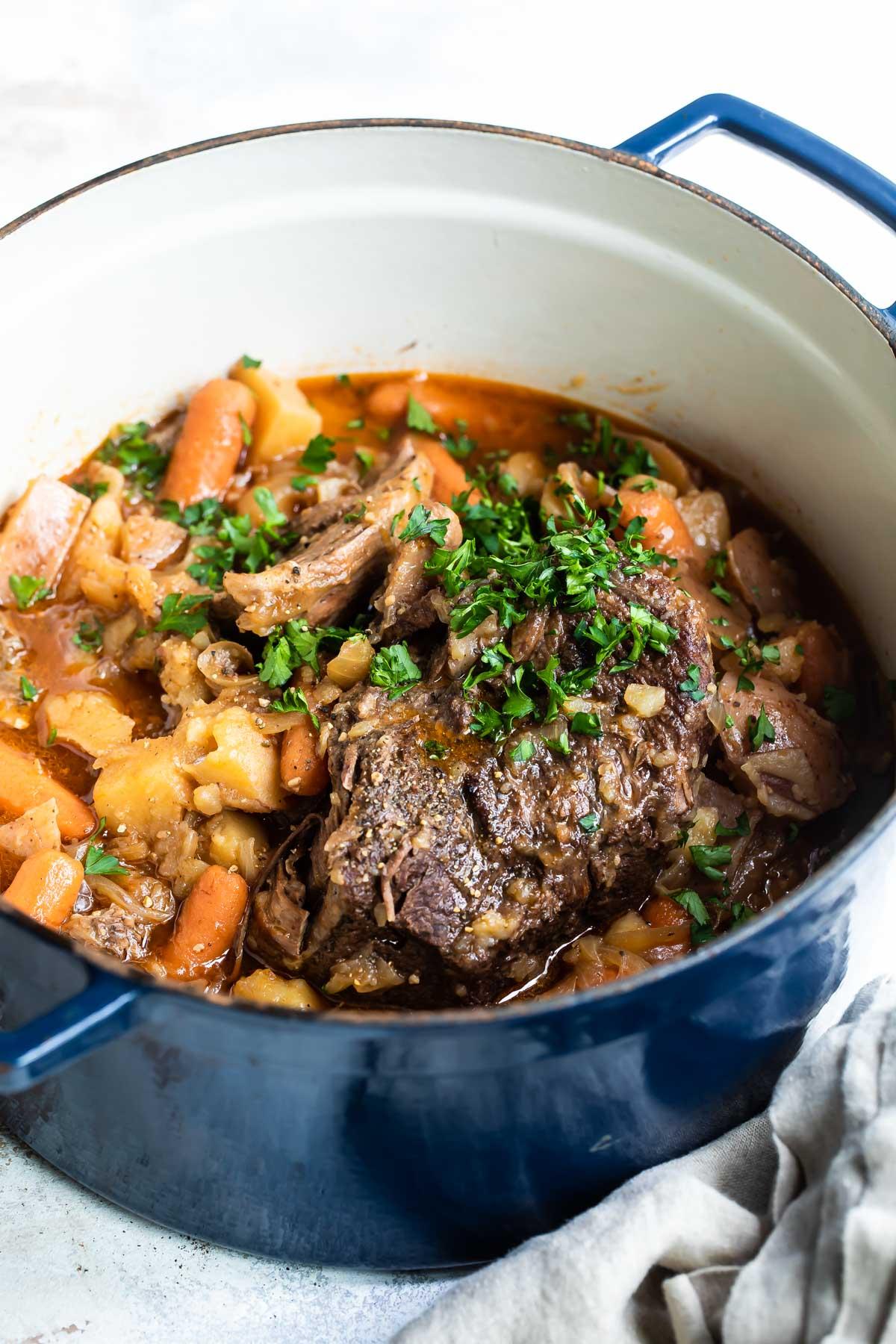 Pot roast in a dutch oven.