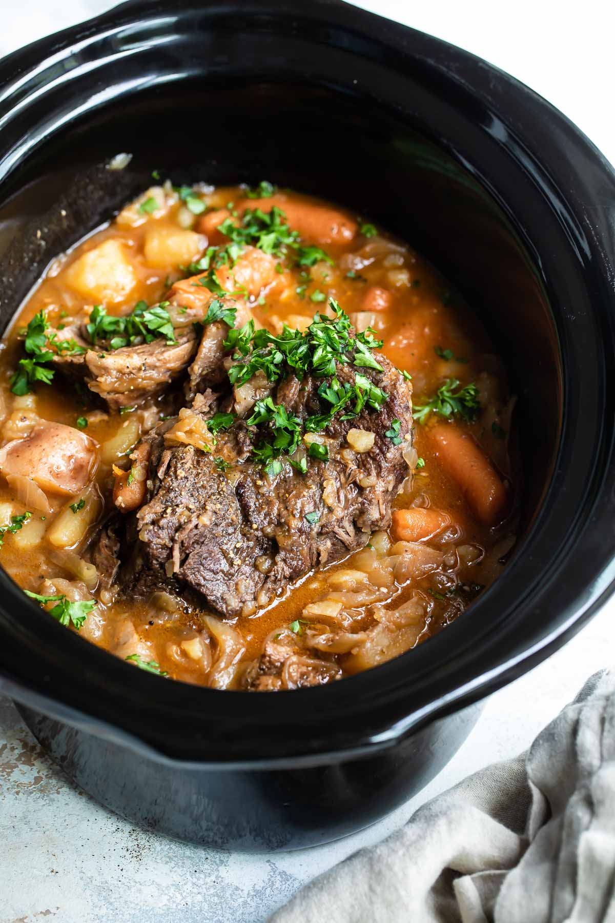 Pot roast in a crock pot.