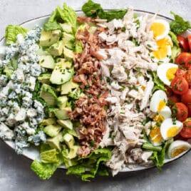 Cobb salad on an oval platter.
